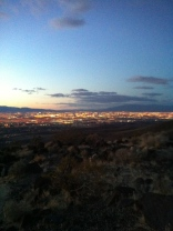A look down at Vegas as the lights are coming on....lots of hiking left!