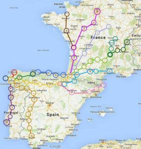 Routes to Santiago. Though any approach is a route, these are the ones people plan for and do in this modern era.